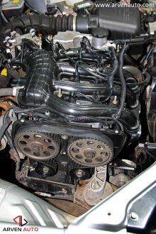 Замена ремня ГРМ – так выглядит привод ГРМ на 16-и клапанном автомобиле с двумя распредвалами.
